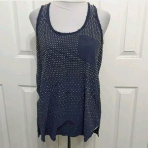 Rebecca Taylor 12 navy blue beaded silk top